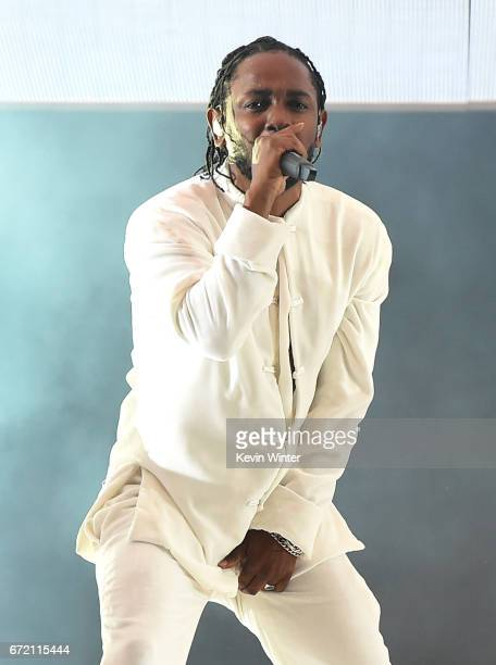 Kendrick Lamar performs on the Coachella Stage during day 3 of the Coachella Valley Music And Arts Festival on April 23 2017 in Indio California