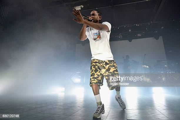Kendrick Lamar performs onstage during American Express Music Presents Kendrick Lamar Live at Music Hall of Williamsburg on December 16 2016 Brooklyn...