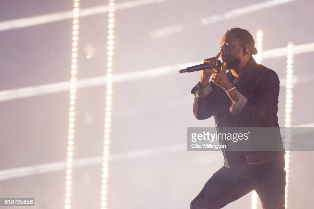 Kendrick Lamar performs onstage headlining Day 2 of the 50th Festival D'ete De Quebec on the main stage at the Plaines D'Abraham on July 7 2017 in...
