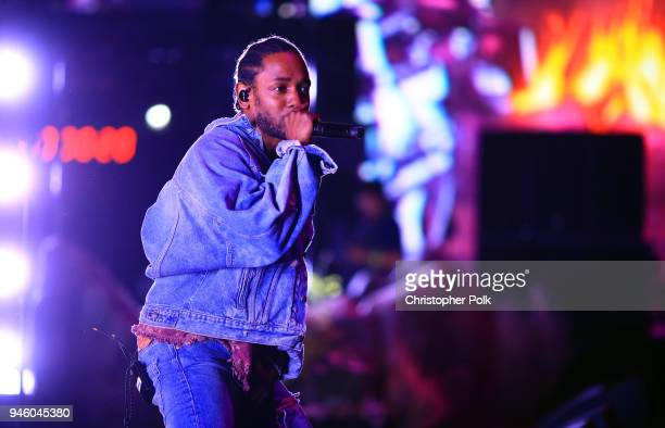 Kendrick Lamar performs onstage with SZA during the 2018 Coachella Valley Music And Arts Festival at the Empire Polo Field on April 13 2018 in Indio...