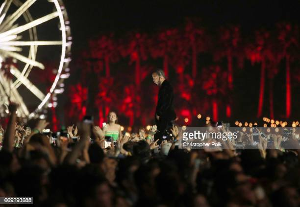 Kendrick Lamar performs ont the Coachella stage during day 3 of the Coachella Valley Music And Arts Festival at the Empire Polo Club on April 16 2017...