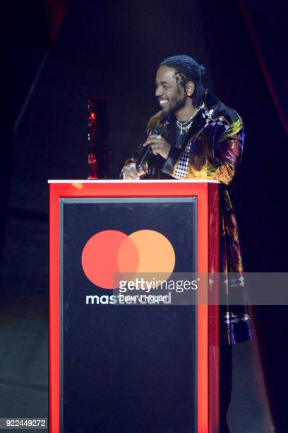 AWARDS 2018 *** Kendrick Lamar speaks on stage at The BRIT Awards 2018 held at The O2 Arena on February 21 2018 in London England