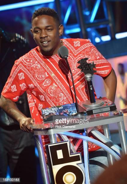 Kendrick Lamar speaks onstage at the 2012 BET Hip Hop Awards at Boisfeuillet Jones Atlanta Civic Center on September 29, 2012 in Atlanta, Georgia.