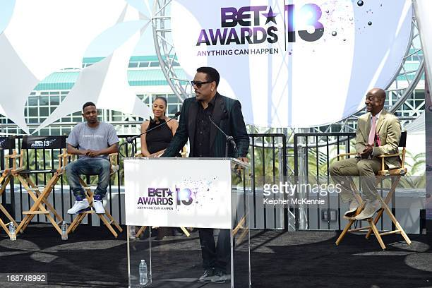 Kendrick Lamar Tamar Braxton Charlie Wilson and Stephen G Hill on stage at the 2013 BET Awards press conference at Icon Ultra Lounge on May 14 2013...