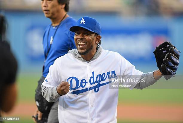Kendrick Lamar throws out the ceremonial first pitch at a baseball game between the San Francisco Giants and the Los Angeles Dodgers at Dodger...