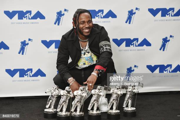 Kendrick Lamar winner of Video of the Year Best Hip Hop Best Cinematography Best Direction Best Art Direction Best Visual Effects for 'Humble' poses...
