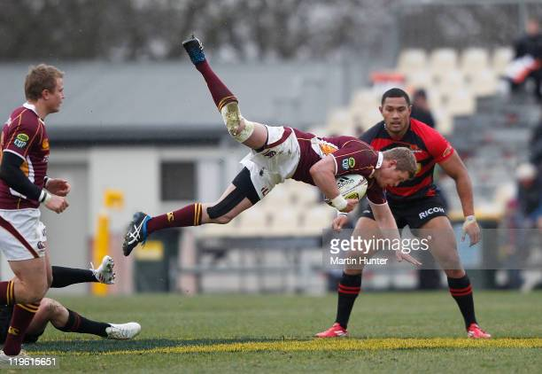 Kendrick Lynn of Southland jumps out of a tackle during the round three ITM Cup match between Canterbury and Southland at AMI Stadium on July 23 2011...