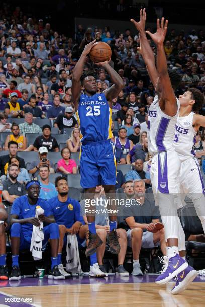 Kendrick Nunn of the Golden State Warriors shoots the ball against the Sacramento Kings on July 3 2018 at Golden 1 Center in Sacramento California...