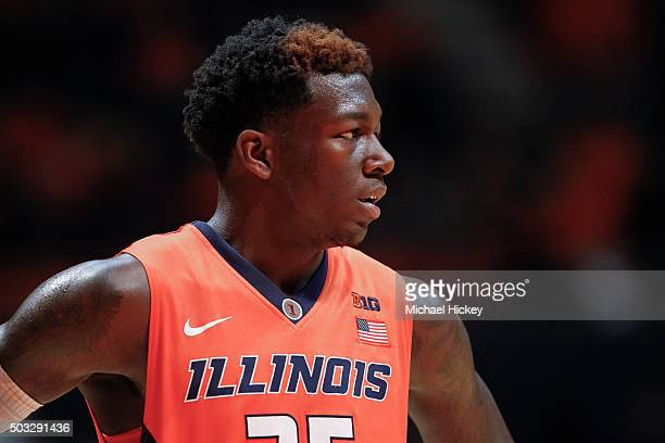 Kendrick Nunn of the Illinois Fighting Illini stands on the court during the game against the Michigan Wolverines at State Farm Center on December 30...