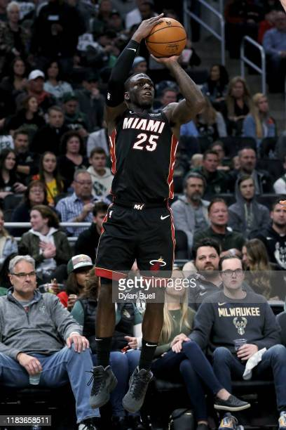 Kendrick Nunn of the Miami Heat attempts a shot in the third quarter against the Milwaukee Bucks at the Fiserv Forum on October 26 2019 in Milwaukee...
