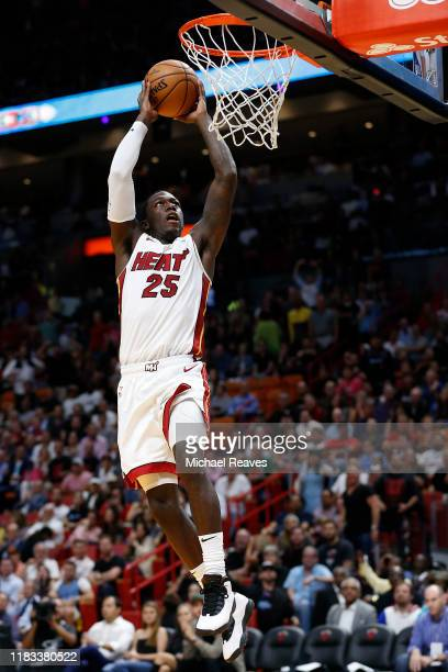 Kendrick Nunn of the Miami Heat dunks against the Memphis Grizzlies during the second half at American Airlines Arena on October 23 2019 in Miami...