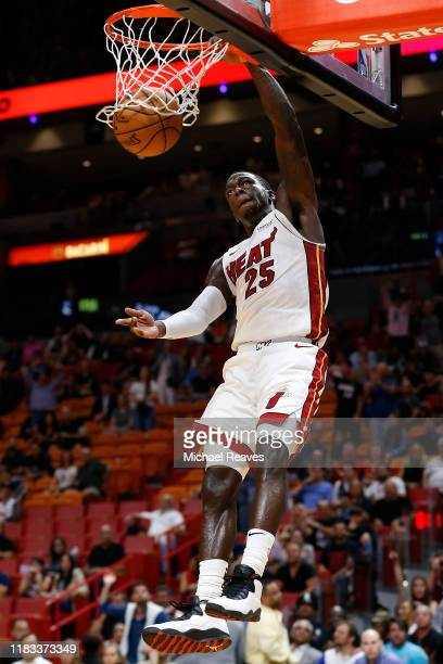Kendrick Nunn of the Miami Heat goes up for a dunk against the Memphis Grizzlies during the second half at American Airlines Arena on October 23 2019...