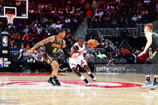 Kendrick Nunn of the Miami Heat handles the ball against the Atlanta Hawks on October 31 2019 at State Farm Arena in Atlanta Georgia NOTE TO USER...
