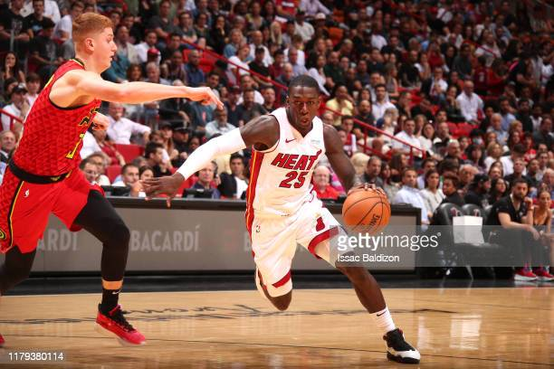 Kendrick Nunn of the Miami Heat handles the ball against the Atlanta Hawks on October 29 2019 at American Airlines Arena in Miami Florida NOTE TO...