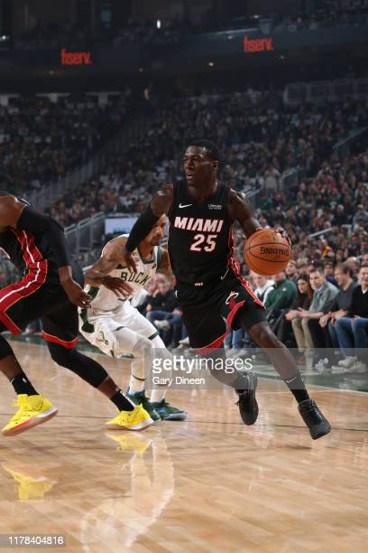 Kendrick Nunn of the Miami Heat handles the ball against the Milwaukee Bucks on October 26 2019 at the Fiserv Forum in Milwaukee Wisconsin NOTE TO...