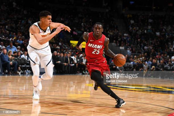 Kendrick Nunn of the Miami Heat handles the ball against the Denver Nuggets on November 5 2019 at the Pepsi Center in Denver Colorado NOTE TO USER...
