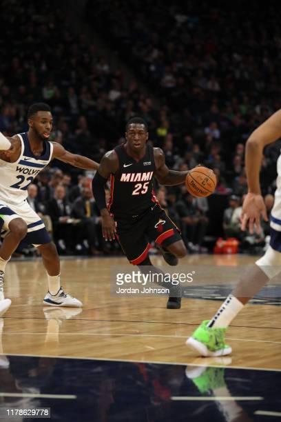 Kendrick Nunn of the Miami Heat handles the ball against the Minnesota Timberwolves on October 27 2019 at Target Center in Minneapolis Minnesota NOTE...