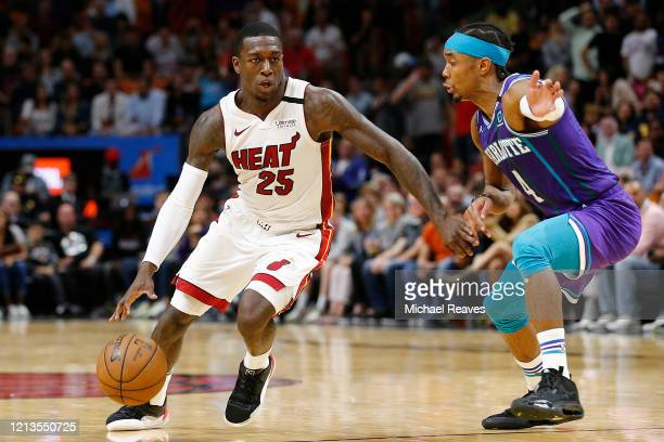 Kendrick Nunn of the Miami Heat in action against the Charlotte Hornets during the second half at American Airlines Arena on March 11, 2020 in Miami,...