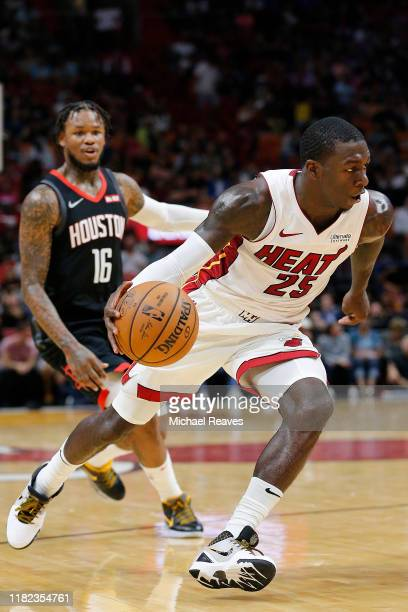 Kendrick Nunn of the Miami Heat in action against the Houston Rockets during the second half at American Airlines Arena on October 18 2019 in Miami...