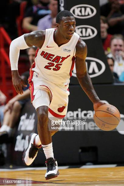 Kendrick Nunn of the Miami Heat in action against the Memphis Grizzlies during the second half at American Airlines Arena on October 23 2019 in Miami...