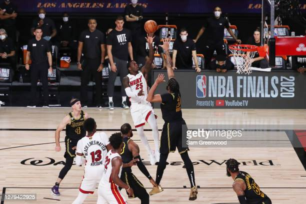 Kendrick Nunn of the Miami Heat shoots the ball against Anthony Davis of the Los Angeles Lakers during the second quarter in Game Five of the 2020...