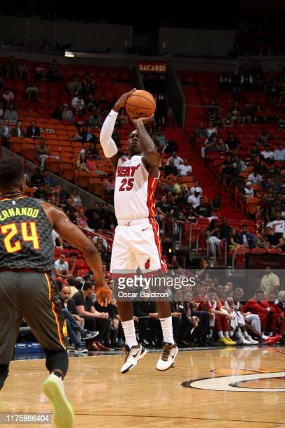 Kendrick Nunn of the Miami Heat shoots the ball against the Atlanta Hawks during a preseason game on October 14 2019 at American Airlines Arena in...