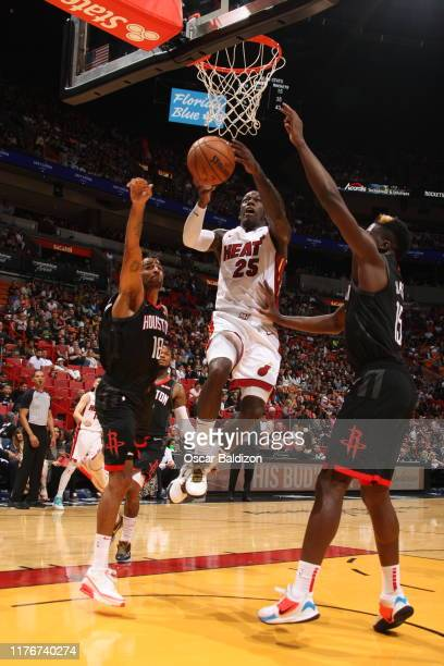 Kendrick Nunn of the Miami Heat shoots the ball against the Houston Rockets during a preseason game on October 18 2019 at American Airlines Arena in...