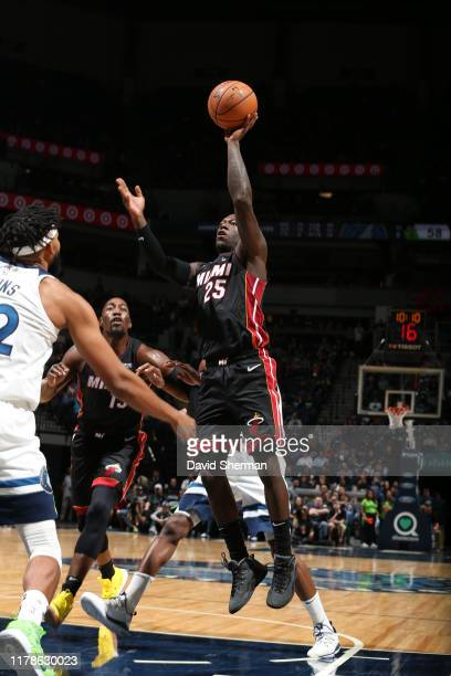 Kendrick Nunn of the Miami Heat shoots the ball against the Minnesota Timberwolves on October 27 2019 at Target Center in Minneapolis Minnesota NOTE...