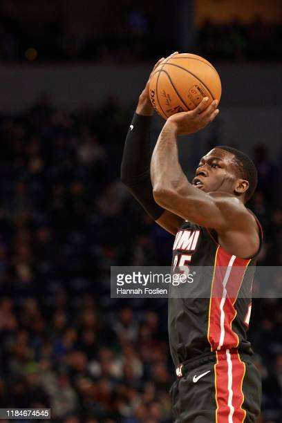 Kendrick Nunn of the Miami Heat shoots the ball against the Minnesota Timberwolves during the home opener at Target Center on October 27 2019 in...