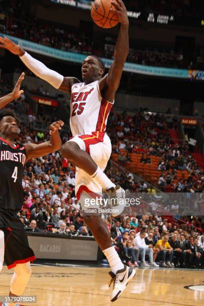 Kendrick Nunn of the Miami Heat shoots the ball during a preseason game against the Houston Rockets on October 18 2019 at American Airlines Arena in...