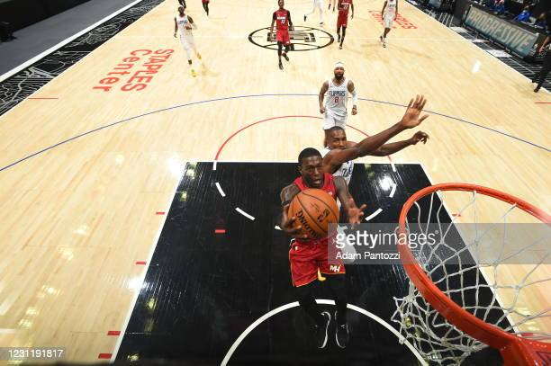 Kendrick Nunn of the Miami Heat shoots the ball during the game against the LA Clippers on February 15, 2021 at STAPLES Center in Los Angeles,...