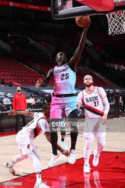 Kendrick Nunn of the Miami Heat shoots the ball during the game against the Portland Trail Blazers on April 11, 2021 at the Moda Center Arena in...