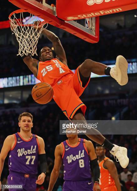 Kendrick Nunn of the USA dunks over Luka Doncic and Rui Hachimura of the World team at the United Center on February 14 2020 in Chicago Illinois NOTE...