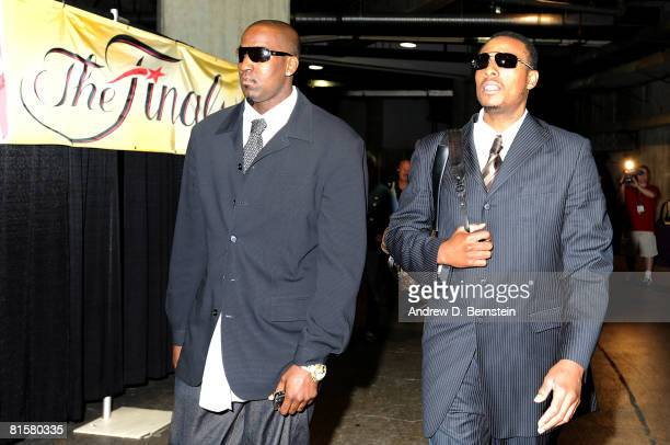Kendrick Perkins and Paul Pierce of the Boston Celtics arrive at the arena before taking on the Los Angeles Lakers in Game Five of the 2008 NBA...