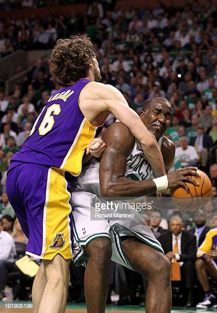 Kendrick Perkins of the Boston Celtics goes up against Pau Gasol of the Los Angeles Lakers in Game Three of the 2010 NBA Finals on June 8 2010 at TD...