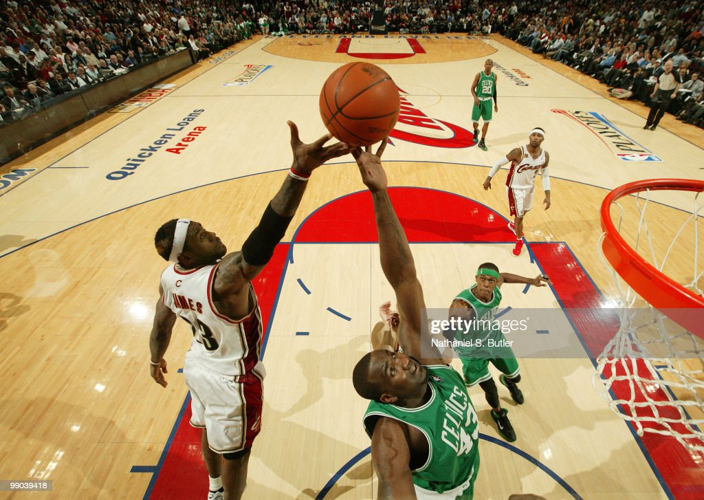 Kendrick Perkins #43 of the Boston Celtics rebounds against LeBron James #23 of the Cleveland Cavaliers in Game Five of the Eastern Conference Semifinals during the 2010 NBA Playoffs on May 11, 2010 at the Quicken Loans Arena in Cleveland, Ohio.