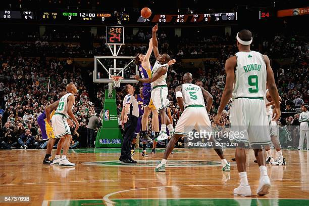 Kendrick Perkins of the Boston Celtics tips off against Pau Gasol of the Los Angeles Lakers during the game on February 5 2009 at TD Banknorth Garden...
