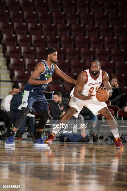 Kendrick Perkins of the Canton Charge handles the ball against the Iowa Wolves NBA G League Showcase Game 7 between the Iowa Wolves and Canton Charge...