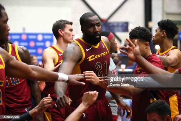 Kendrick Perkins of the Canton Charge huddle during the game against the Grand Rapids Drive at The DeltaPlex Arena for the NBA GLeague on JANUARY 6...