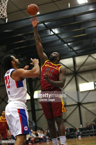Kendrick Perkins of the Canton Charge shoots the ball against the Grand Rapids Drive at The DeltaPlex Arena for the NBA GLeague on JANUARY 6 2018 in...