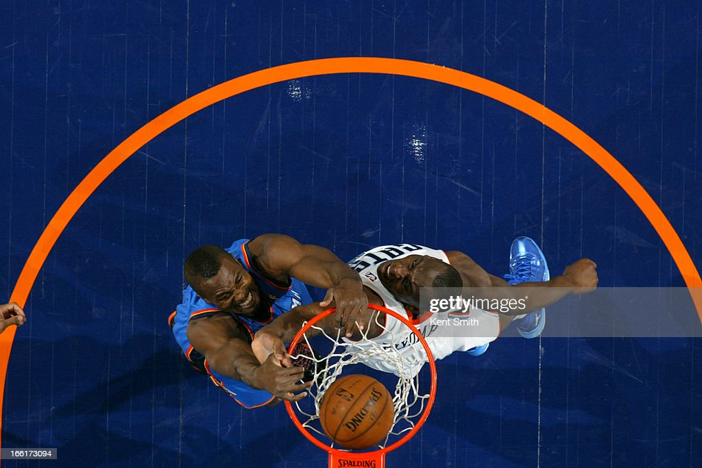 Kendrick Perkins #5 of the Oklahoma City Thunder dunks the ball against the Charlotte Bobcats at the Time Warner Cable Arena on March 8, 2013 in Charlotte, North Carolina.