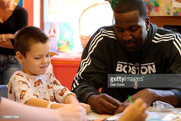 Kendrick Perkins visits Tony at Children's Hospital Boston on November 18 2010 in Boston Massachusetts