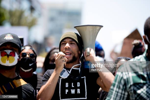 Kendrick Sampson participates in the Hollywood talent agencies march to support Black Lives Matter protests on June 06 2020 in Beverly Hills...