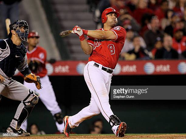 Kendry Morales of the Los Angeles Angels of Anaheim hits a two run home run to break a 44 tie in the eighth inning against the New York Yankees on...