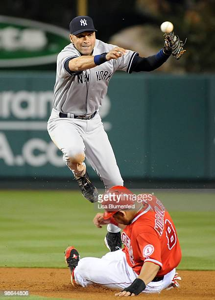 Kendry Morales of the Los Angeles Angels of Anaheim is out at second base in the fifth inning against Derek Jeter of the New York Yankees on April 23...