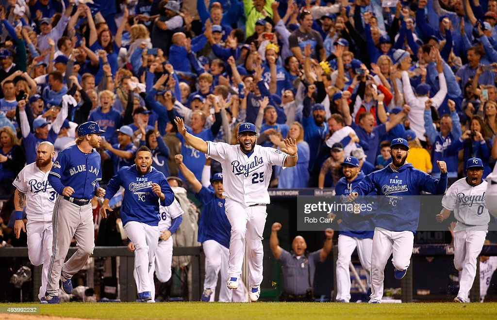 Kendrys Morales #25 of the Kansas City Royals celebrates after the Royals 4-3 victory against the Toronto Blue Jays in game six of the 2015 MLB American League Championship Series at Kauffman Stadium on October 23, 2015 in Kansas City, Missouri.