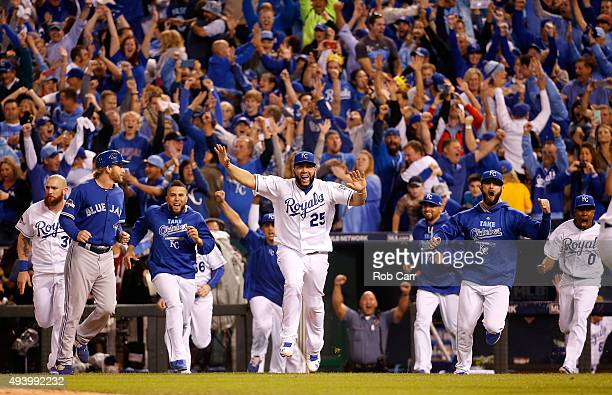 Kendrys Morales of the Kansas City Royals celebrates after the Royals 43 victory against the Toronto Blue Jays in game six of the 2015 MLB American...