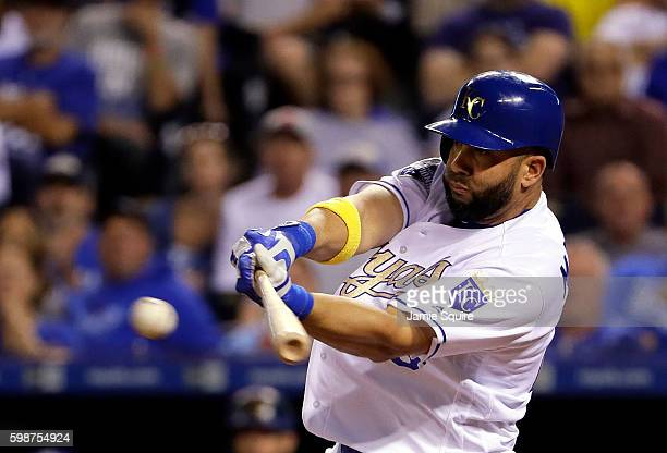 Kendrys Morales of the Kansas City Royals connects for a single during the 3rd inning of the game against the Detroit Tigers at Kauffman Stadium on...
