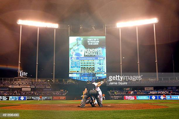 Kendrys Morales of the Kansas City Royals hits a solo home run in the second inning against the Houston Astros during game one of the American League...