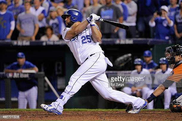 Kendrys Morales of the Kansas City Royals hits a threerun home run in the eighth inning against the Houston Astros during game five of the American...